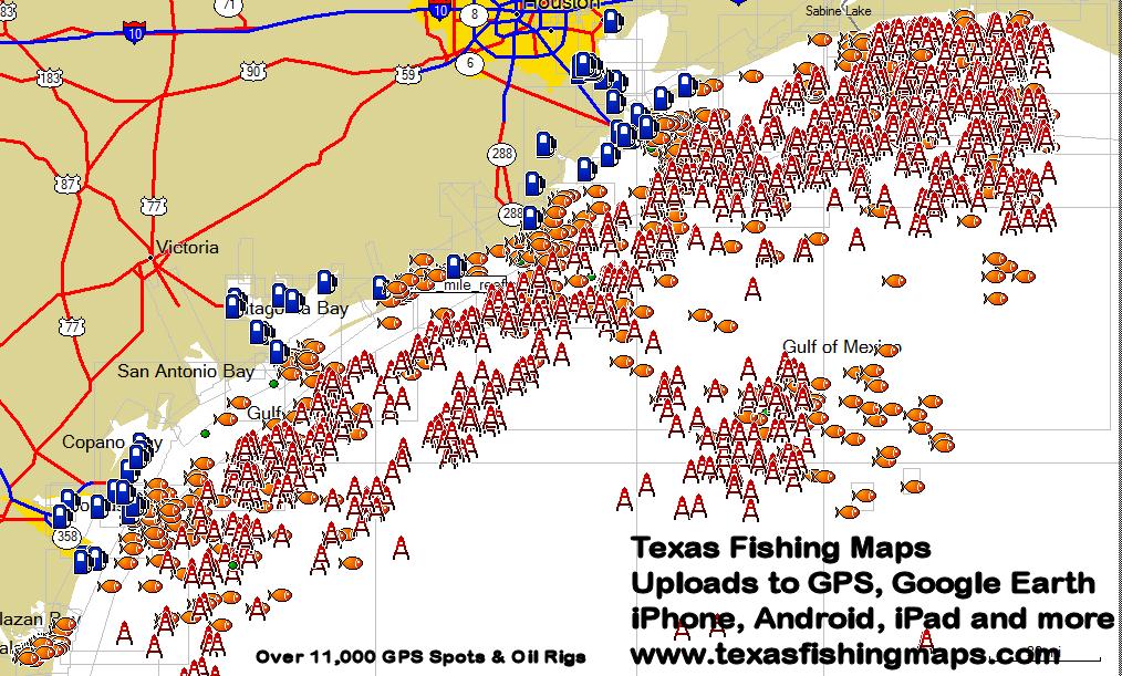 Texas gps fishing mapstexas fishing maps and fishing spots for Free fishing day texas