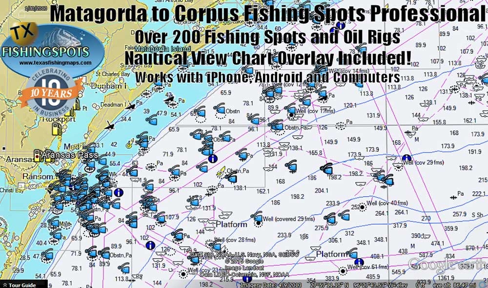 Matagorda to Corpus Christi Offshore Fishing Spots Map