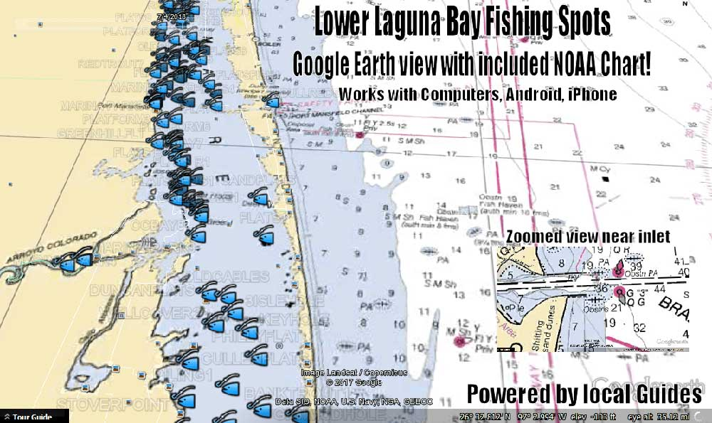 Lower Laguna Bay Texas Fishing Map