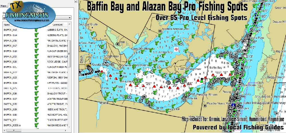 Baffin Bay Fishing Map Gps Texas Fishing Spots Maps For Gps