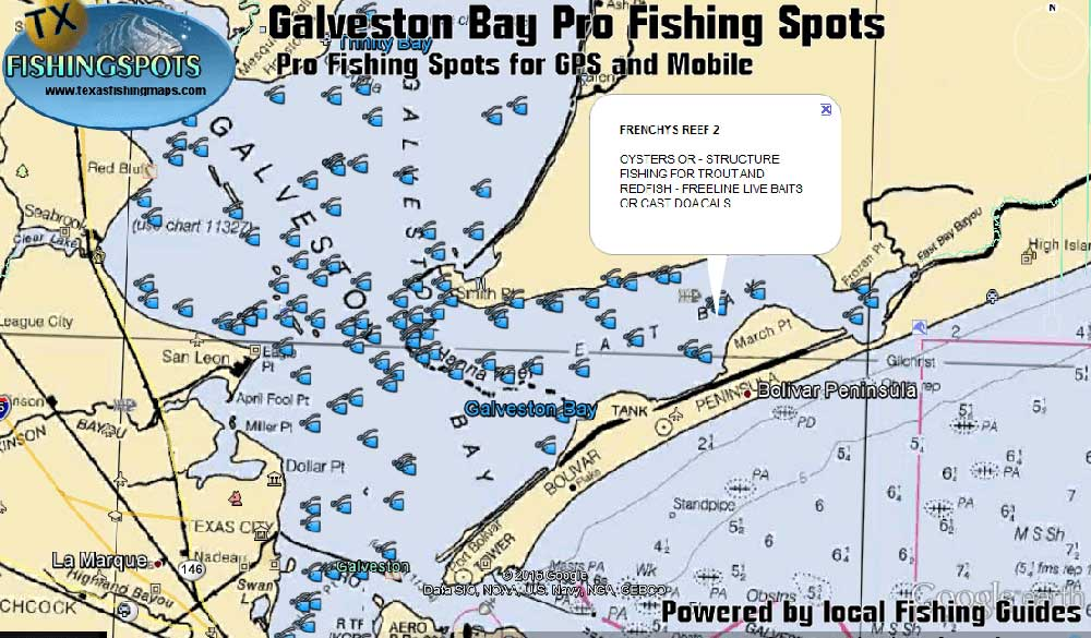 Galveston bay fishing spots for gps fish for trout for Fishing galveston tx