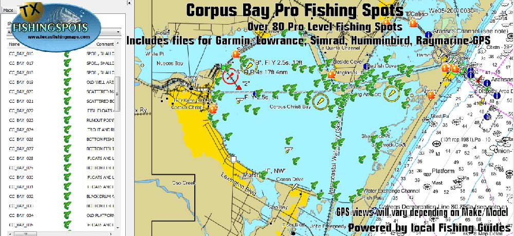 Corpus Christi Bay Fishing Spots Map for GPS