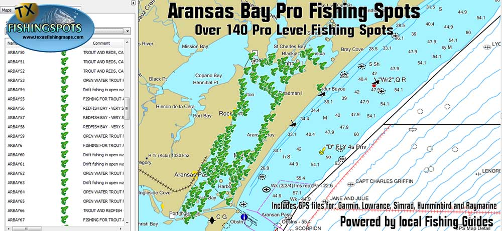 Aransas Bay Fishing Map for GPS