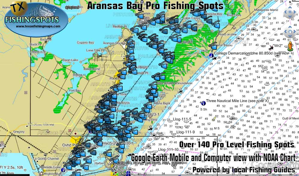 Aransas Bay Fishing Map and Fishing Spots