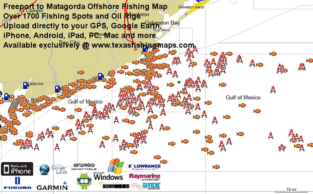 Freeport to matagorda texas fishing map for gps for Offshore fishing texas