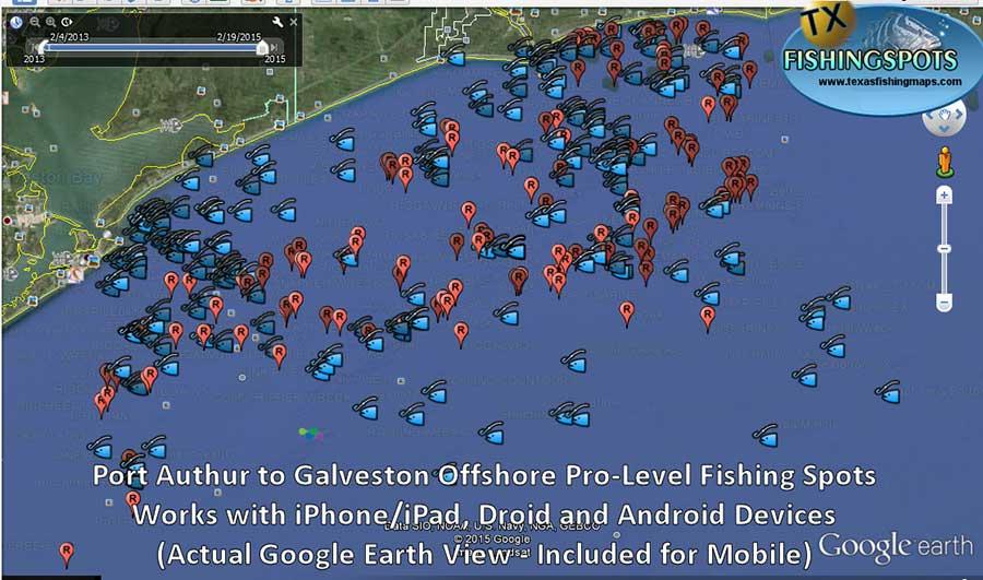 Galveston fishing maps for Good fishing spots in galveston