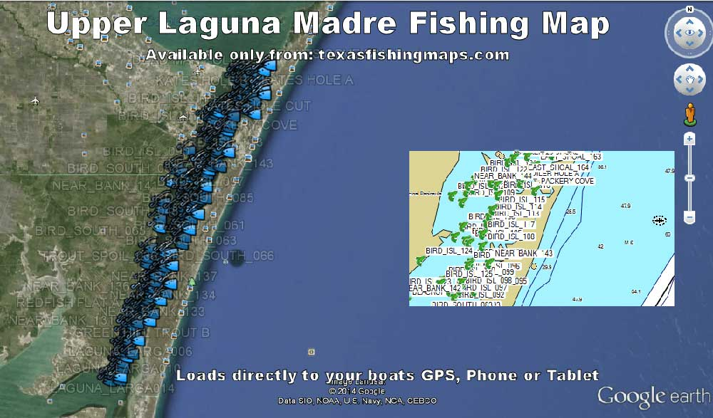 Upper Laguna Texas Fishing Maps for GPS