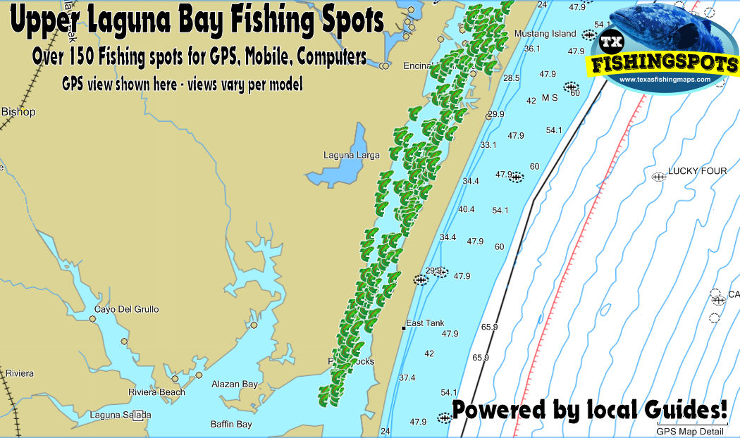 Upper Laguna Madre Bay Texas Fishing Spots for GPS