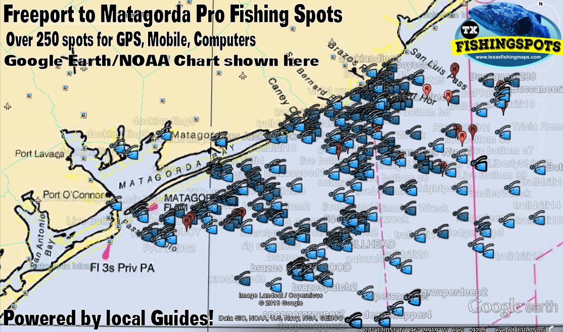 Freeport to Matagorda Texas Fishing Map with Oil Rigs