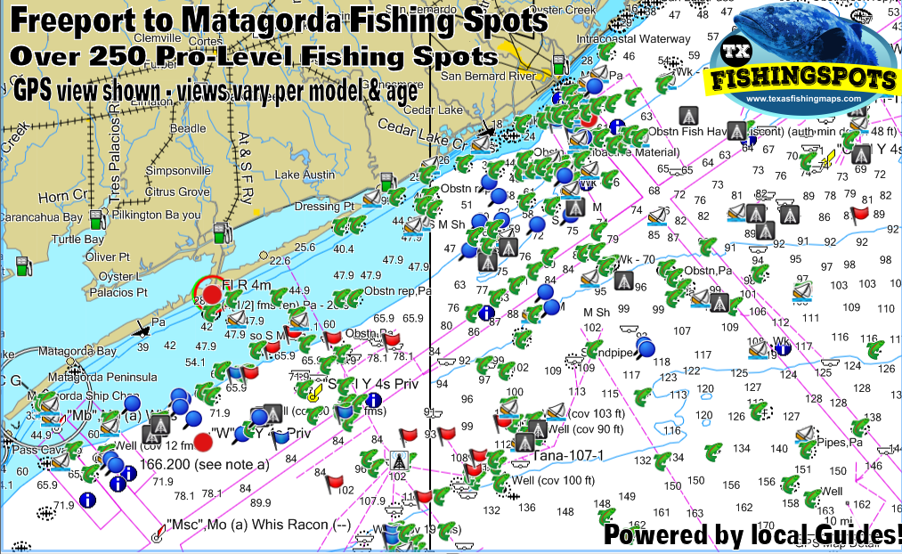 Freeport to Matagorda Texas offshore Fishing Spots