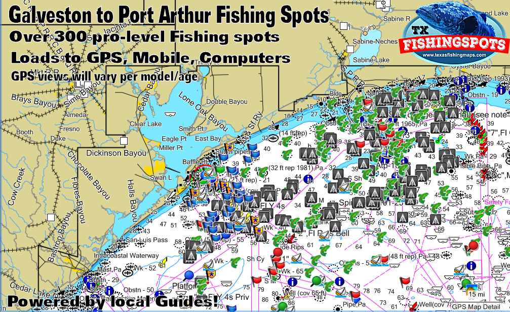Galveston Texas Offshore Fishing Spots for GPS