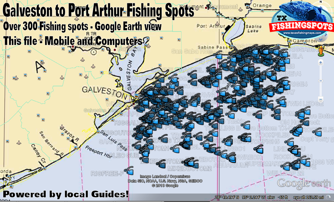 Galveston Offshore Fishing Spots Map