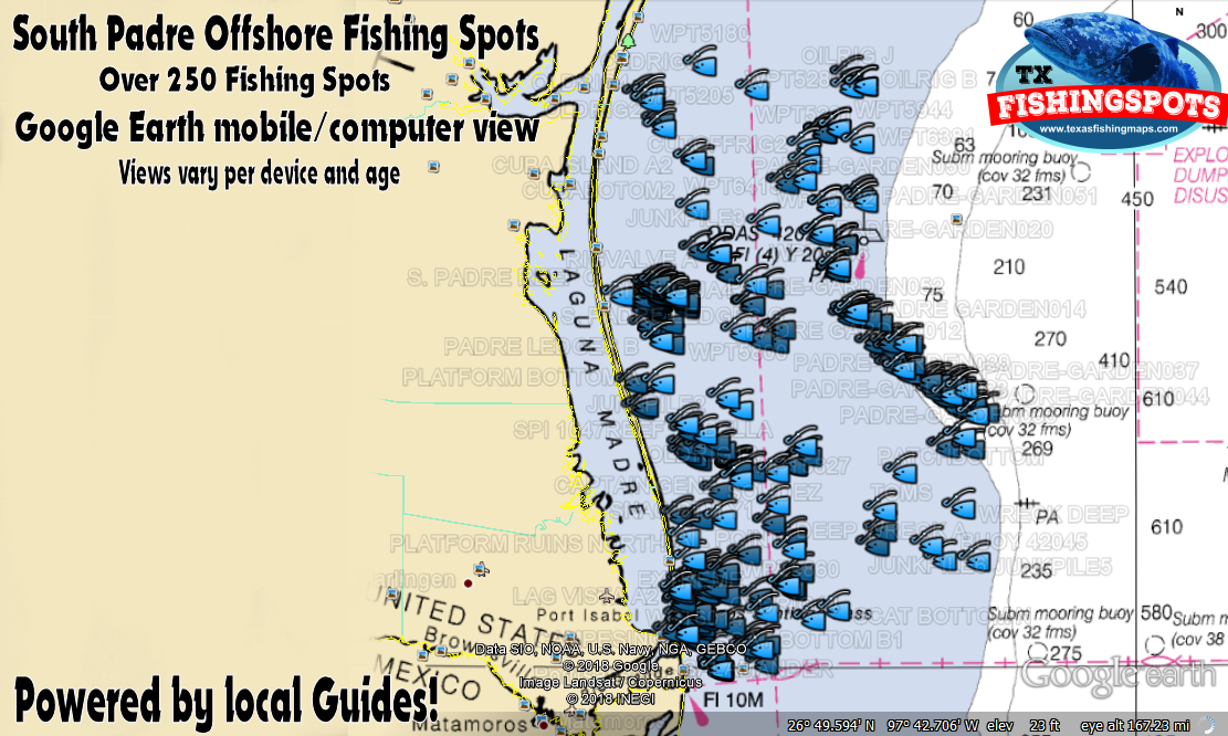 South padre island texas offshore fishing map texas for Bay fishing south padre island